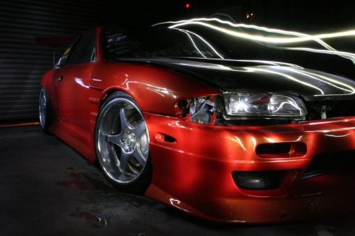 Garage Made S14 RRBODYWORKS orange gold glake night shots
